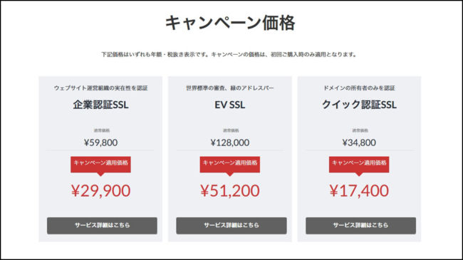 SSL証明書の価格